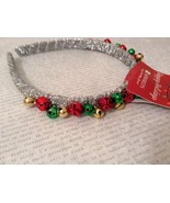 Jingle bell fashion head wear band choice of color way silver red green ... - $22.50