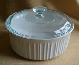 Corning Ware French White Round Casserole Dish 1.5 qt  & glass lid Stone... - $9.65
