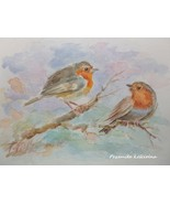 BIRDS, ORIGINAL WATERCOLOR PAINTING, HAND PAINTED, FRAMED ART, Red Robins - $25.00