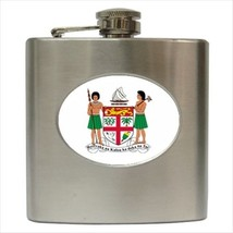Fiji Coat Of Arms Hip Flask (Classic Stainless Steel) - Heraldic Tabard - $14.35