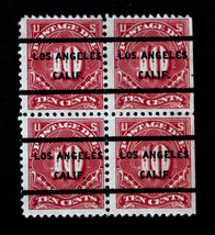 US Stamp Sc #J65 Los Angeles Precancel Block of 4 Postage Due - $19.99