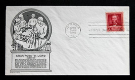 US Stamp Sc#  875 FDC Crawford W. Long C. Stephen Anderson Cachet 1940 - $9.99