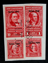"US Stamp: -Sc #R421, R440, R478 & R448 ""T.I.T. Co."" Perfin 9-8-47 on Cut... - $15.99"