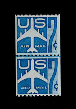 U.S. Stamp Sc# C52 MLH Joint Line Coil 7c Blue JET SILHOUETTE - $7.99
