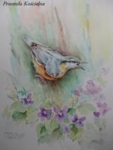 BIRD, WILDLIFE ORIGINAL WATERCOLOR PAINTING, HAND PAINTED, FRAMED ART, N... - $50.00