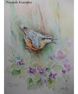 BIRD, WILDLIFE ORIGINAL WATERCOLOR PAINTING, HAND PAINTED, FRAMED ART, N... - $50.00