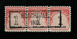 US Stamp Sc #J100 Used with Perfect Box Cancel on Strip of Three 1$ Post... - $15.99