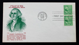 US Stamp Sc# 848 PAIR PRESIDENTIAL FIRST DAY COVER WASH., DC JAN. 27, 1939 - $15.99