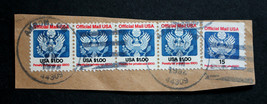 US Official Stamp Sc# 132 Used Strip of 4 + O138A on Cut Piece Doanes Ca... - $19.99