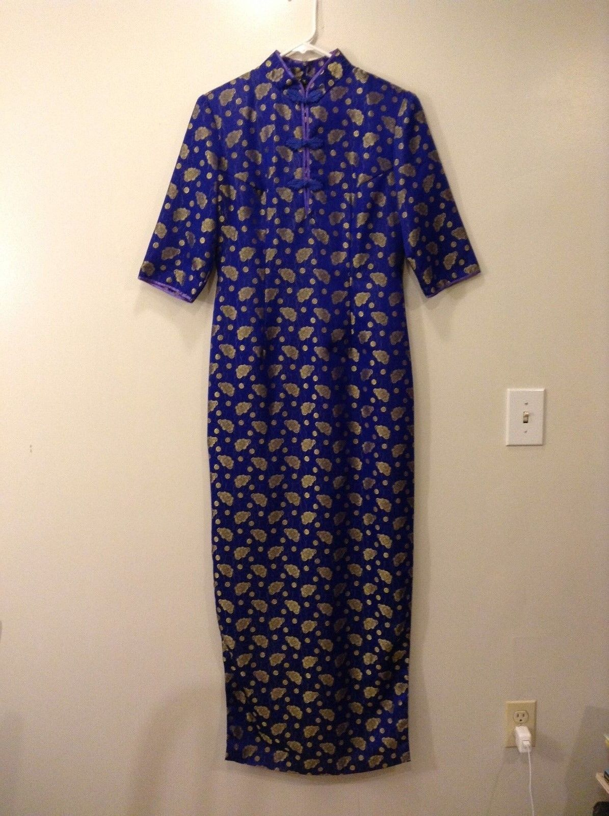 Custom made chinese long dress Royal blue