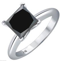 1CT Spectacular Princess Cut Black AAA Diamond 14K WG Solitaire Bridal Ring - $267.83