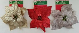 "Christmas Glitter Poinsettia Clips 9"" Ornaments, Select: Gold, Red or Si... - $2.99"