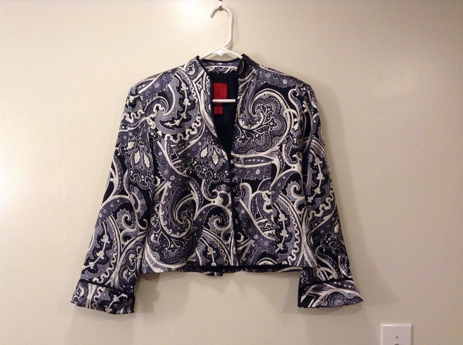 Ladies JS collection Petite Black White floral silk Jacket