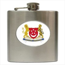 Singapore Coat Of Arms Stainless Steel Hip Flask - Heraldic Tabard Design - €11,65 EUR