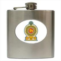 Sri Lanka Coat Of Arms Stainless Steel Hip Flask - Heraldic Tabard Design - $14.35