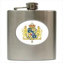 Sweden Coat Of Arms Stainless Steel Hip Flask - Heraldic Tabard Design - $14.35