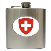 Switzerland Coat Of Arms Stainless Steel Hip Flask - Heraldic Tabard Design - $14.35