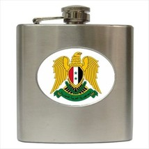 Syria Coat Of Arms Stainless Steel Hip Flask - Heraldic Tabard Design - $14.35