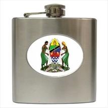 Tanzania Coat Of Arms Stainless Steel Hip Flask - Heraldic Tabard Design - $14.35