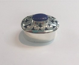Ethnic Handmade Sterling Silver MEXICO 925 Lapis Oval Hinged Pill/Stuff ... - $78.38
