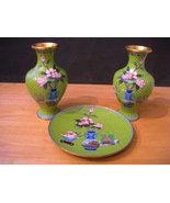 Early vintage set of 3 cloisonne vase & plate - $250.00