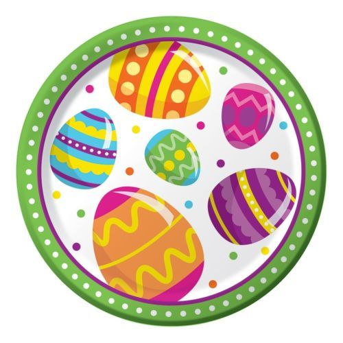 """Easter Egg Fun 8 Ct 7"""" Dessert Paper Plates Colorful Spring Party"""