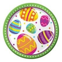 "Easter Egg Fun 8 Ct 7"" Dessert Paper Plates Colorful Spring Party - $3.79"