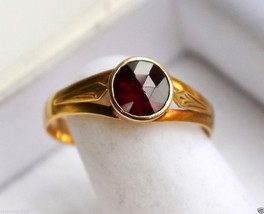 1858 Antique European  Ring solid 18K Gold Almandine Garnet Size 9US /2.3gr - $386.83