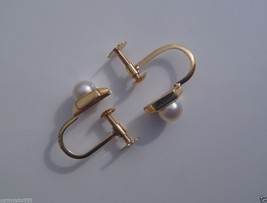Vintage Antique Pearls and 18K Gold  Earrings with screws  - $125.60