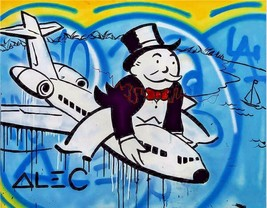 "Alec Monopoly Print on Canvas Urban art decor Riding Airplane 28x36"" - $33.48"