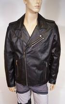 Karl Lagerfeld Paris Mens Black Leather Motorcycle Moto Biker Jacket Coat L - $199.99