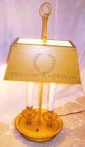 1890 Antique Brass 2-Candle Lamp w/Metal Shade ... - $79.10