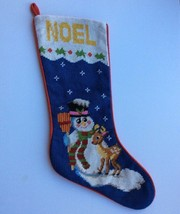 """Snowman Noel Christmas Stocking Needlepoint 21"""" Reindeer Hand Stitched H... - $24.72"""