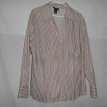 Lane Bryant Women's 22/24 Long Sleeve Button Down Stripe Shirt Career - $10.88
