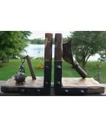 Vintage MEDIEVAL WEAPONS Wood Metal Bookends SPAIN Spooky HALLOWEEN Deco... - $174.99
