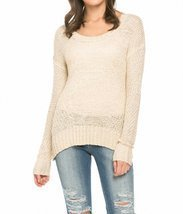 Sassy Apparel Women's Long Sleeve Crochet Sweater Fashion Top (Beige) - £9.34 GBP
