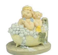 Pig figurine vtg resin bubble bath tub piglet hog signed sculpture decor... - $16.35