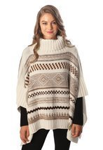 Sassy Scarves Womens Winter Warm Turtleneck Poncho Sweater Top (Brown) - £10.78 GBP