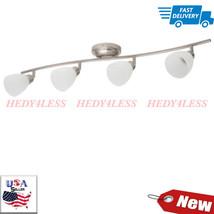 Four-Light Track Light Fixture Satin Nickel Alabaster-Style Glass 4 Adj.... - $71.28