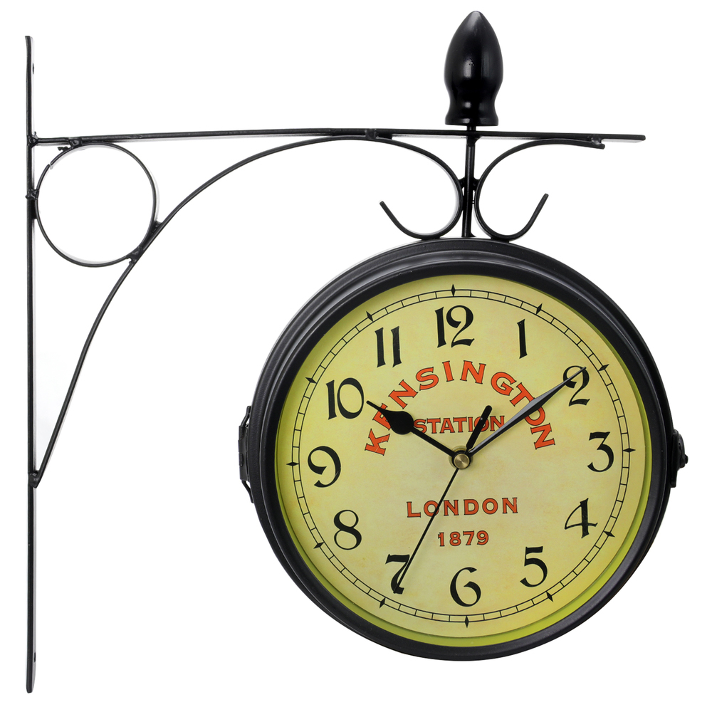 Bedford Double Sided Wall Clock Vintage Antique Look Mount