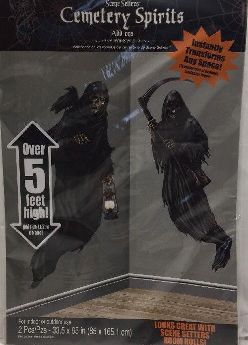 Creepy Cemetery Halloween Party Grim Reaper Scene Setter Add-On Decoration Pl...