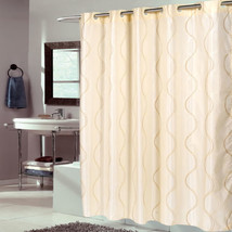 "EZ On Fabric Shower Curtain Bristol Swirl Ivory With Built in Hooks 70""x75"" - $25.99"