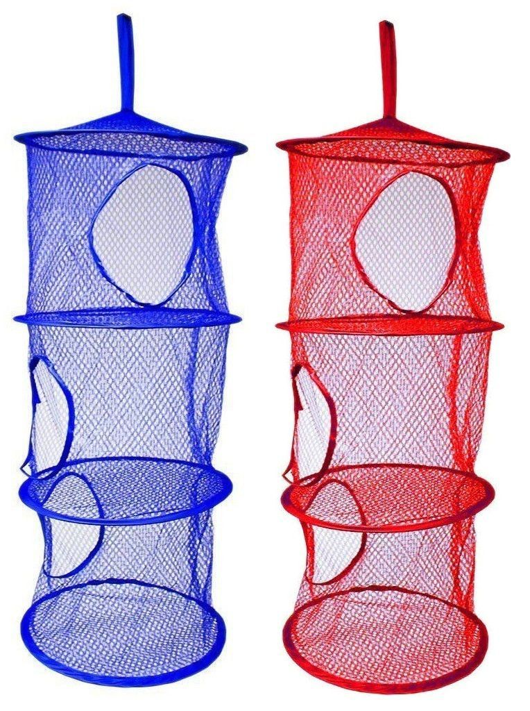 2 x Layer Hanging Hamper Mesh Storage Closet Organizer Kids Garage Laundry Room