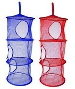 2 x Layer Hanging Hamper Mesh Storage Closet Organizer Kids Garage Laund... - $8.99