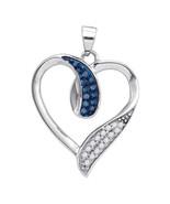 Women 10K White Gold Fn 925 Sterling Silver White & Blue Topaz CZ Heart ... - $58.99