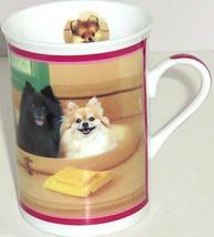 Pomeranians Coffee Mug Bath Time Dog Puppy Porcelain Danbury Mint Retired - $39.95