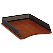 Rolodex Distinctions Self-Stacking Desk Tray, Metal/Wood, Black/Cherry - €46,37 EUR