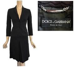 Dolce & Gabbana Italy Black Zig Zag Jacquard Skirt Suit 4 - $298.00