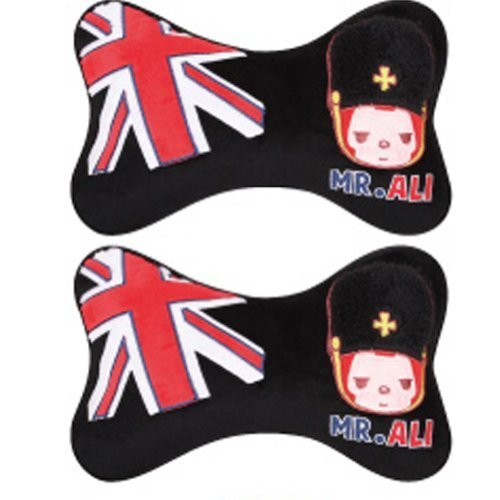 Set of 2 Cute Cartoon Car Headrest/Dog Bone Neck Pillow ,(Mr.ALI) Black