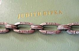 JUDITH RIPKA 925 SILVER GRAND STATEMENT DIAMONIQUE TEXTURED LINK BRACELE... - $179.95